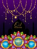 Eid mubarak greeting background Islamic with gold patterned. And crystals on paper color background. illustration royalty free illustration