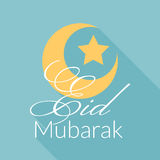 Eid Mubarak greeting background. With long shadows. Vector design royalty free illustration