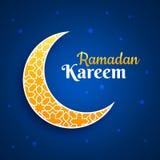 Eid Mubarak, greeting card, crescent moon on blue background Stock Photo
