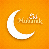 Eid Mubarak, greeting card, crescent moon on orange background. Vector illustration royalty free illustration