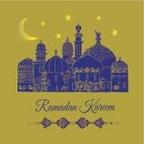 Eid Mubarak greeting card . Decorative background with illustration of arabian houses royalty free illustration