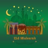 Eid Mubarak greeting card . Decorative background with illustration of arabian houses stock illustration