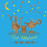 Eid Mubarak greeting card . Stock Image