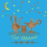 Eid Mubarak greeting card . Decorative background with illustration of arabian teapots stock illustration