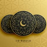 Eid mubarak greeting card design in islamic decoration Royalty Free Stock Photos