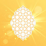 Eid Mubarak greeting card design. Vector Illustration of Eid Mubarak greeting card design with islamic decorative pattern on golden light background for holy stock illustration