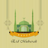 Eid Mubarak Greeting Card Flat Design Royalty Free Stock Photo