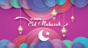 Ramadan greeting card. Eid Mubarak greeting Card Illustration, ramadan kareem cartoon vector Wishing for Islamic festival for banner, poster, background, flyer vector illustration
