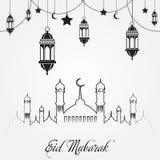 Eid Mubarak greeting card for Islam holiday. Vector.  Royalty Free Illustration