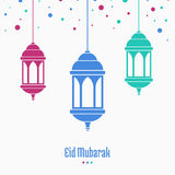 Eid Mubarak, greeting card, lamp on blurred background. Eid Mubarak, greeting card, lamps on white background, vector illustration royalty free illustration