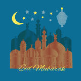 Eid Mubarak greeting card with minaret. Background with decorative mosque and minarets vector illustration