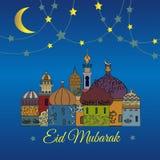 Eid Mubarak greeting card with minaret. Illustration with decorative, ornamental mosque royalty free illustration