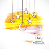 Eid Mubarak Greeting Card with Moons and Stars. Creative Glossy Crescent Moons and Stars hanging on abstract background, Eid Mubarak Greeting Card or Invitation vector illustration