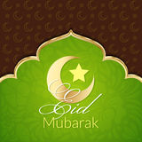 Eid Mubarak Greeting Card. With traditional pattern and crescent, star. Vector islamic background vector illustration