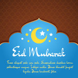 Eid Mubarak Greeting Card. With traditional pattern and crescent, stars. Vector islamic background vector illustration