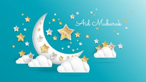Eid Mubarak greeting card vector Illustration - Ramadan Kareem p. Aper art background for Islamic festival - brochure cover, banner, poster, flyer, sale vector illustration