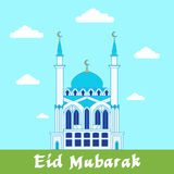 Eid Mubarak greeting card// White. Mosque on blue and green background design template royalty free illustration