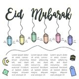 Eid Mubarak Greeting Design Template Background Arkivbild
