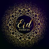 Eid mubarak greeting with golden mandala decoration and glitter Stock Images