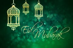 Eid Mubarak greeting for Islamic Holidays, Eid Al-Fitr and Eid A. L-Adha. Geen background with golden lanterns stock illustration