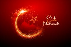Eid Mubarak Greetings med brusandemånen royaltyfri illustrationer