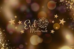 Eid Mubarak Greetings no fundo dourado - caligrafia árabe foto de stock royalty free