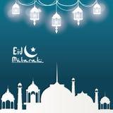 Eid Mubarak hälsning med moskén och med härliga upplysta arabiska glanslampor med hand dragen kalligrafi Royaltyfria Bilder