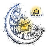 Eid Mubarak Happy Eid-achtergrond voor Islam godsdienstig festival op heilige maand van Ramazan Stock Foto's