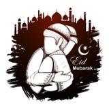 Eid Mubarak Happy Eid-achtergrond voor Islam godsdienstig festival op heilige maand van Ramazan stock illustratie