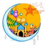 Eid Mubarak Happy Eid background for Islam religious festival on holy month of Ramazan Stock Photo