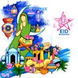 Eid Mubarak Happy Eid background for Islam religious festival on holy month of Ramazan Royalty Free Stock Images