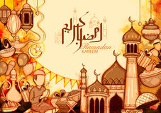 Eid Mubarak Happy Eid background for Islam religious festival on holy month of Ramazan Royalty Free Stock Image