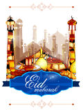 Eid Mubarak Happy Eid bakgrund royaltyfri illustrationer