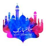 Eid Mubarak Happy Eid greetings with mosque stock illustration
