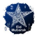 Eid Mubarak Happy Eid-groeten in Arabische uit de vrije hand met moskee Royalty-vrije Stock Afbeeldingen