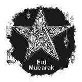 Eid Mubarak Happy Eid-groeten in Arabische uit de vrije hand met moskee Stock Foto