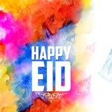Eid Mubarak Happy Eid hälsningsbakgrund för religiös festival för islam på helig månad av Ramazan royaltyfri illustrationer