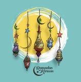 Eid Mubarak-Hintergrund mit der schönen belichteten arabischen Lampe Lizenzfreie Stockfotografie