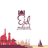 Eid mubarak Illustration. Eid mubarak poster. Illustration of Ramadan Kareem with Arabic mosque and the sea with boats for the celebration of Muslim community stock illustration
