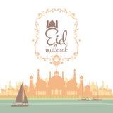 Eid mubarak Illustration. Eid mubarak poster. Illustration of Ramadan Kareem with Arabic mosque and the sea with boats for the celebration of Muslim community vector illustration