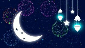 Eid mubarak islamic design concept with moon and mosque silhouette element motion background for Ramadan Kareem or Eid Mubarak
