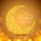 Eid Mubarak islamic festive background. With floral crescent moon, lights and bokeh. Vector design Stock Images