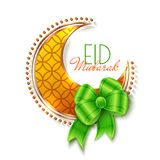 Eid Mubarak Islamic Greeting Background. With crescent and bow. Vector festive design Stock Images