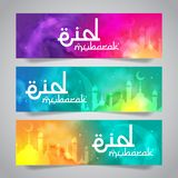 Eid Mubarak Islamic Greeting de la plantilla santa de la bandera del mes imagen de archivo