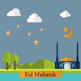 Eid Mubarak Landscape Flat Design Foto de archivo