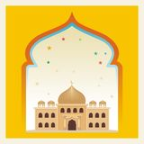 Eid Mubarak met Beeldverhaalmoskee stock illustratie