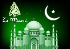Eid Mubarak moon and star background with mosque Stock Image