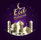 Eid Mubarak on purple background. vector illustration. Stock Image