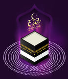 Eid Mubarak on purple background. vector illustration. Stock Photo