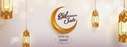 Eid Mubarak Sale Advertising Banner Vector Template Design royalty free stock photography